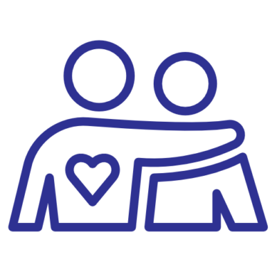 An icon of two individuals hugging