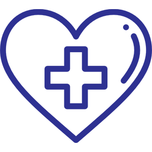 An icon of a heart with a medicare sign
