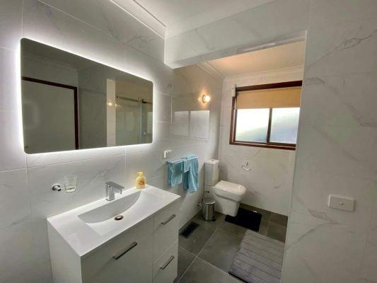 An interior image of a bathroom