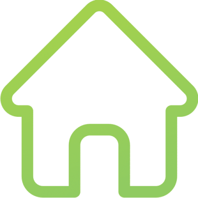 A green icon of a house