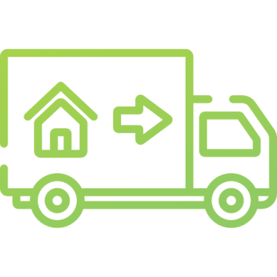 A lorry delivering goods to houses