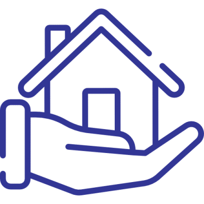 A blue icon of a house on a hand
