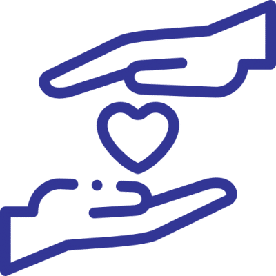 A blue icon of two hands and a heart showing care